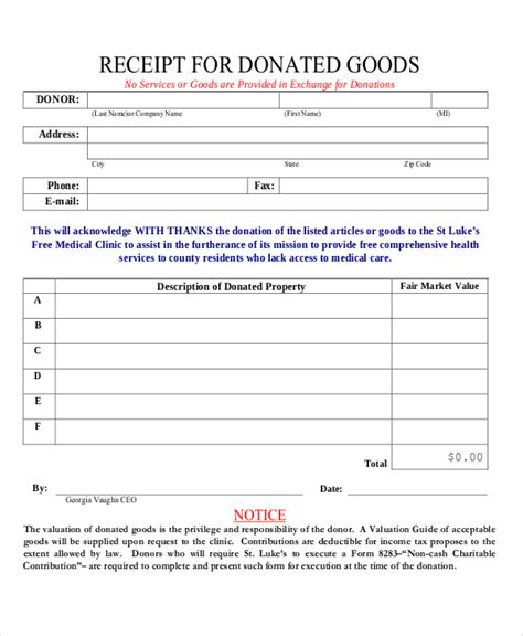 receipt template for second goods 8 donation receipt sles sle templates