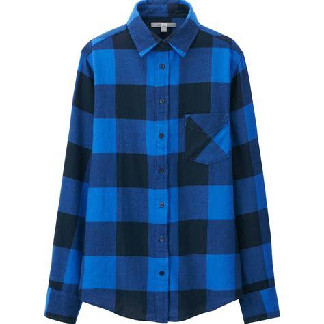Uniqlo Flannel Shirt uniqlo flannel check sleeve shirt in blue