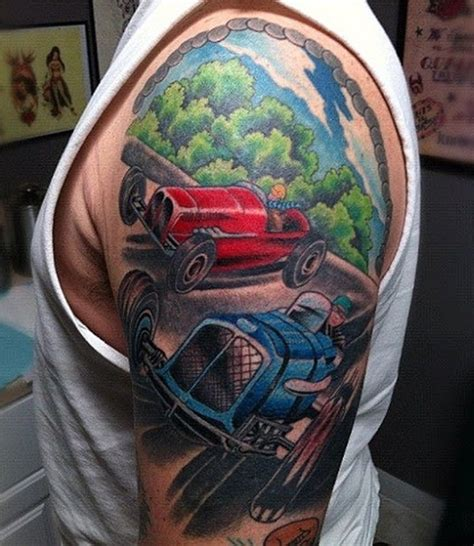 automotive tattoo sleeve red and blue car tattoo on left half sleeve tattooshunt com