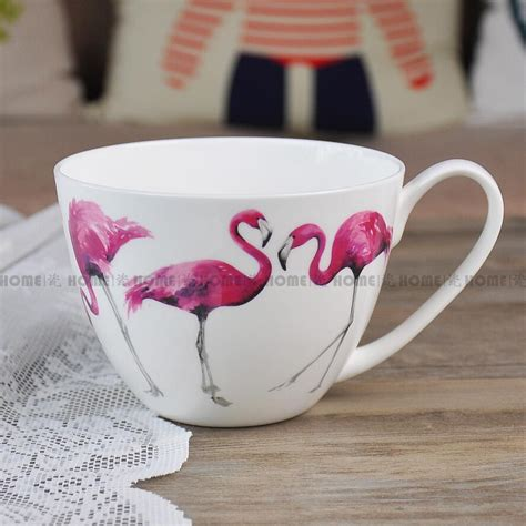 Tokyo1 Pink Soup Mug pretty in pink bone china mug porcelain breakfast cups bowl cereal soup cup pink flamingo milk