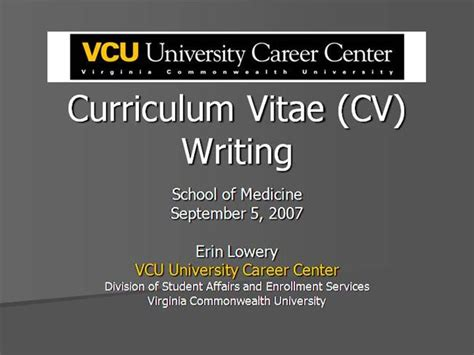 Cv Writing Medicine Authorstream Vcu Powerpoint Template