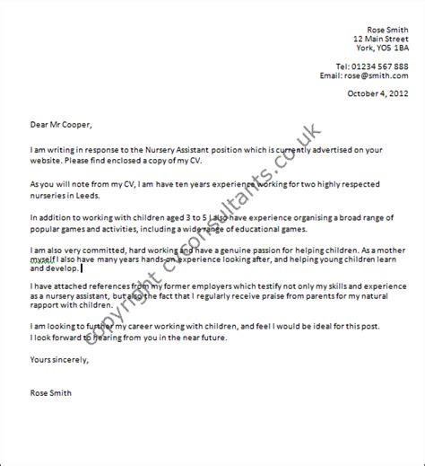 nursery assistant cover letter exle
