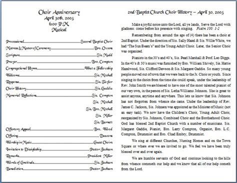 bulletin template the gallery for gt church anniversary program template