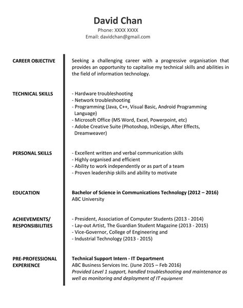 Resume Template Jobsdb by Sle Resume For Fresh Graduates It Professional