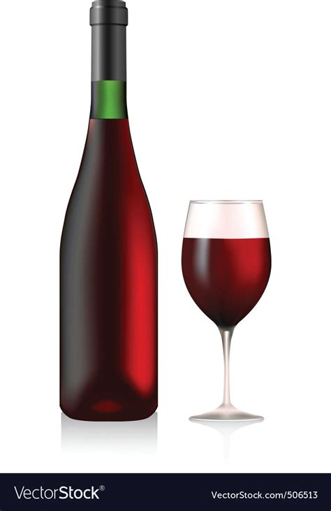wine vector bottle and glass with wine royalty free vector image