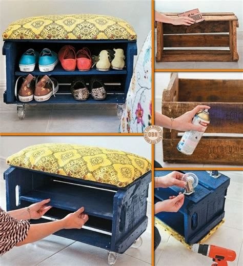 kids shoe bench diy crate shoe bench for the home pinterest