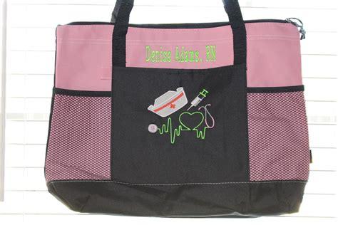 monogrammed nursing school gift personalized nurse tote bag