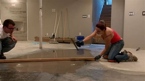 DIY self leveling underlayment   YouTube