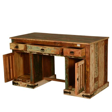 rustic solid reclaimed wood office desk