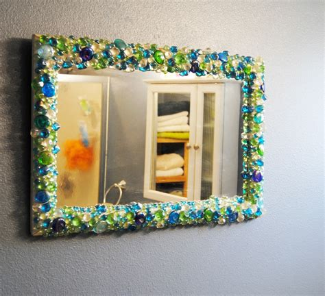 how to decorate mirror at home diy flat glass stones decorated mirror diys tips