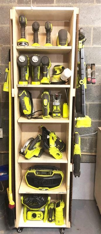 diy power tool storage unit  wheels garage tool