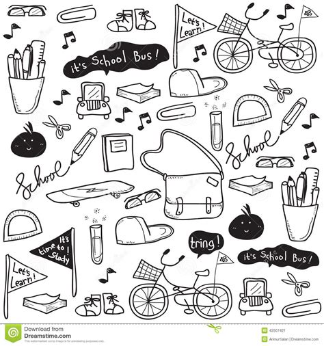 doodle drawing vector school doodle drawing stock vector image 42507421
