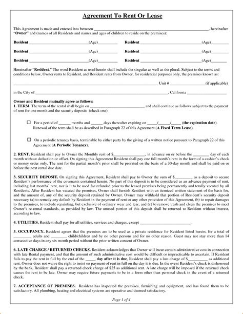 printable rental agreement application 7 rental lease agreement form printable receipt