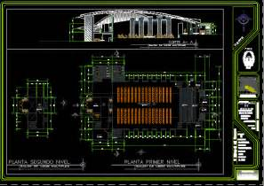 multipurpose hall in autocad drawing bibliocad