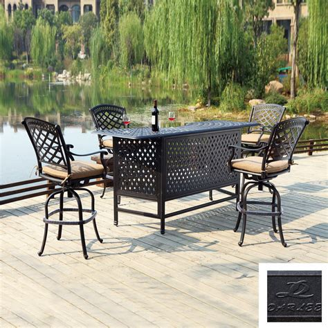 bar height patio set shop darlee 5 sedona cushioned cast aluminum patio bar height set at lowes