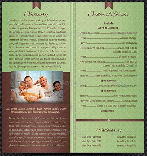 Bi Fold Funeral Program Template Godserv Market Bi Fold Program Template