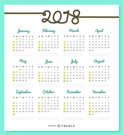 printable calendar 2018 design delicate 2018 calendar design vector download