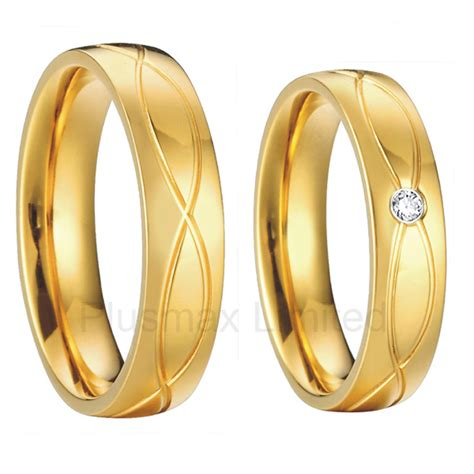 2 pieces cheap classic vintage mens and womens18k gold