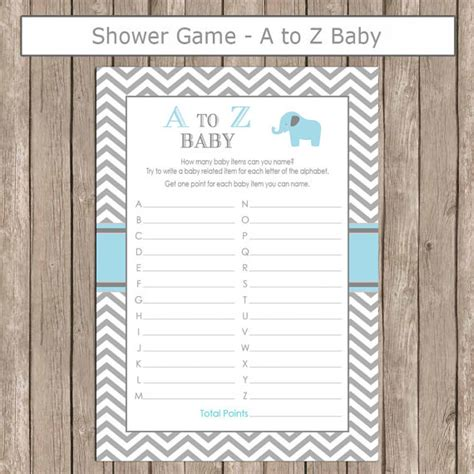 printable games a z elephant baby shower a to z baby game in baby blue and gray