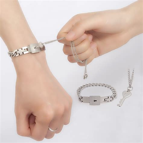 personalized lock and key matching couples bracelets