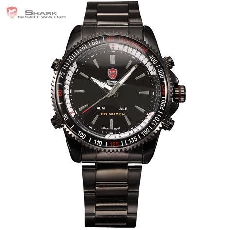 shark analog led dual time date alarm reloj black