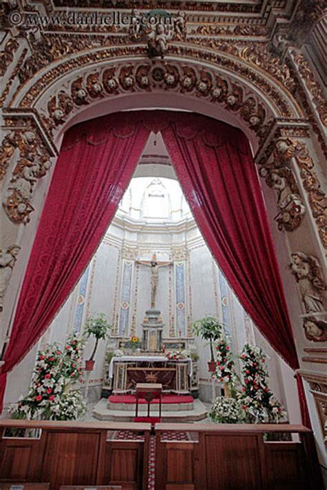 Red Curtain And Altar