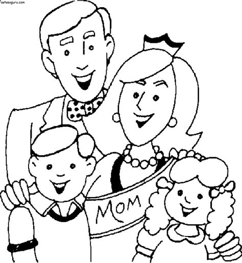 family day coloring page printable mothers day with happy family coloring page