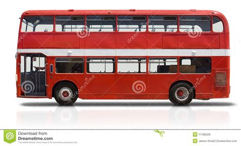 Red Double Decker Bus On White Stock Image   Image: 11185529