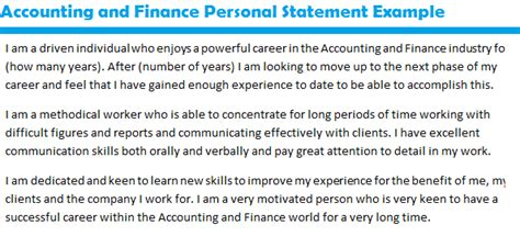 accounting and finance personal statement exle by