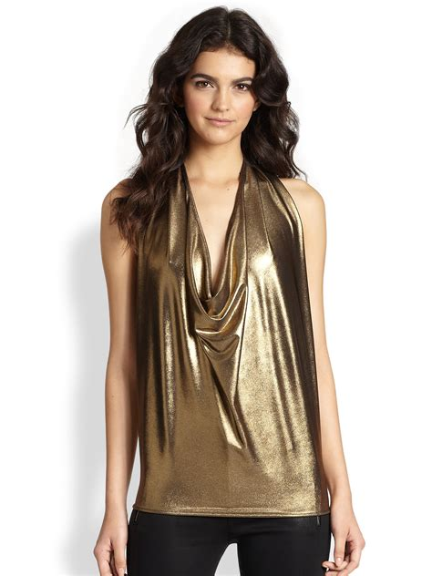 Rocha Rachely Rope Blouse ramy brook harriet draped lam 201 halter top in metallic lyst