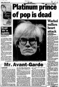 how was andy warhol when he died the day artist andy warhol died at 58 in 1987 ny daily news