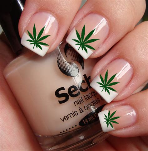 easy nail art leaf free shipping pot leaves marijuana nail art ptg