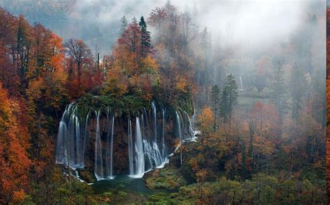 nature, Landscape, Waterfall, Forest, Mist, Morning, Trees ... Fall Nature Wallpaper