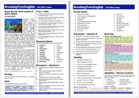breaking news english english news readings level 5 breaking news english 2 page mini lesson great barrier