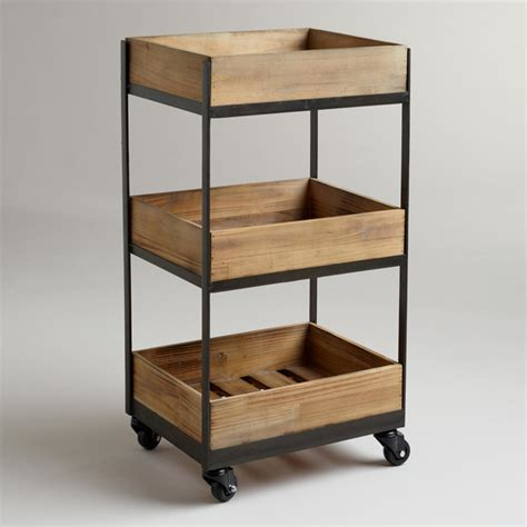contemporary kitchen carts and islands three shelf wooden gavin rolling cart contemporary