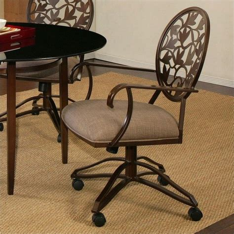 Caster Chairs Dining Pastel Furniture Brownsville Caster Dining Chair In Coffee Brown Qlbr16017357