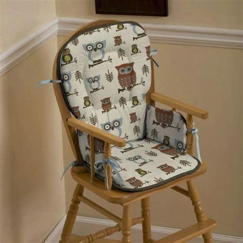 retro owls high chair pad