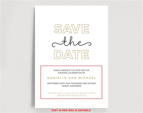save the date editable template instant download