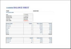 Till Float Template by Cashier Balance Sheet Template For Excel Excel Templates