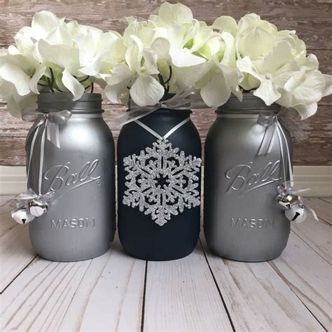 navy blue and silver jars table