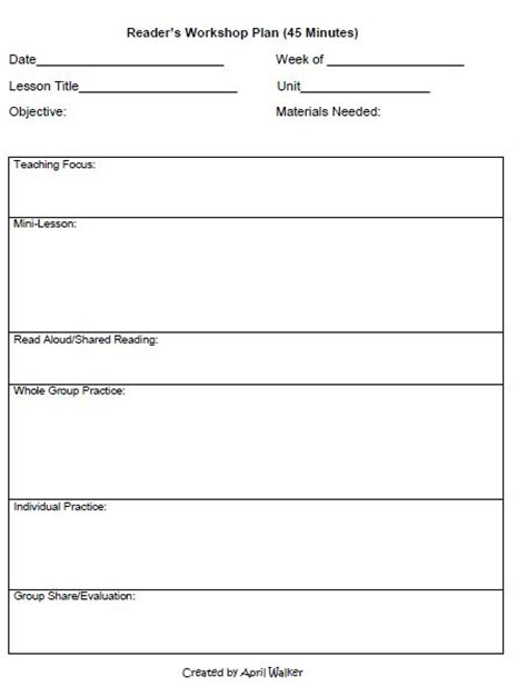 readers workshop lesson plan template the idea backpack how to organize time in reading and