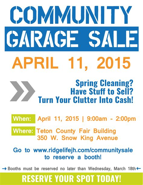 Community Garage Sale Ridgelife Church Community Flyer Template