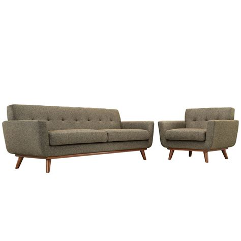 sofa armchair set engage modern 2pc upholstered button tufted sofa