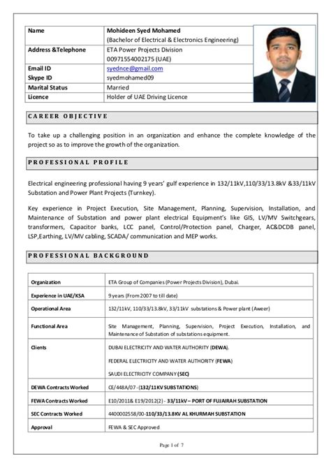 Sle Resume For Substation Design Engineer Resume Syed Mohamed Site Manager With 9 Years Of Experience In G