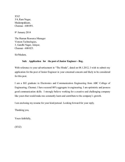 Application Letter For Fresh Graduate Chemical Engineer sle cover letter for fresh graduate mechanical