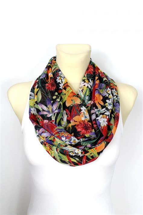 Handmade Scarfs - infinity scarf floral infinity scarf printed scarf unique