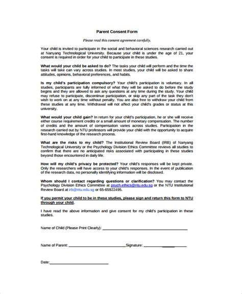 consent form psychology template sle psychology consent form 7 free documents