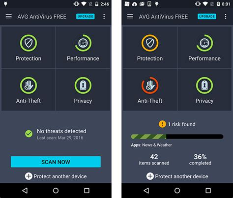 android virus protection test avg antivirus free 5 1 for android 160905 av test