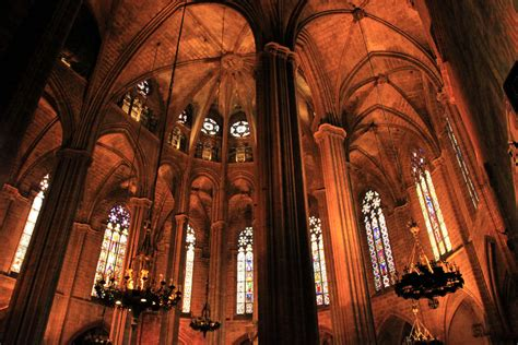 inside in spanish spain inside the barcelona cathedral 01