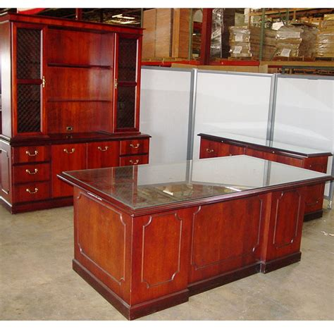 wooden office desk with glass top dallas office furniture used executive desk set new